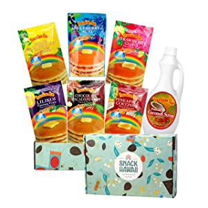 Snack Hawaii Hawaiian Pancake Mix and Coconut Syrup Gift Box - Complete Healthy Breakfast for the Family - Easy to Prep and Cook, Just Add Water - Soft and Fluffy - 6 Flavor Packs in a Beautiful Box