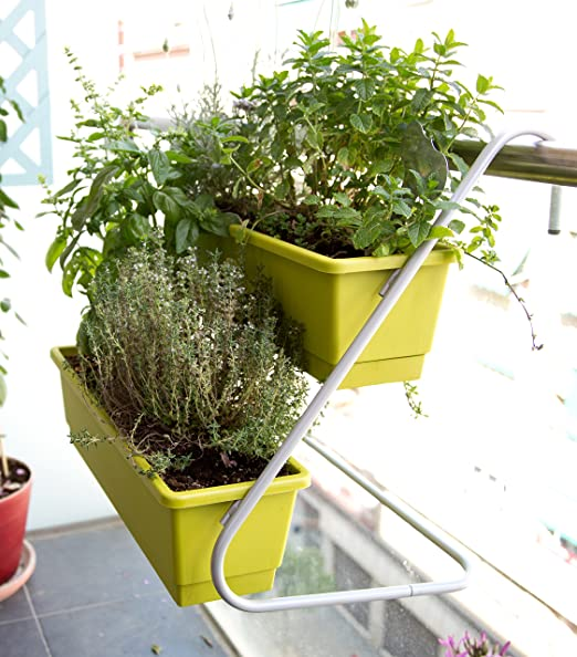 Jardín colgante, Soporte de balcón con 2 balconeras color Pistacho 50x16x14 cm.: Amazon.es: Jardín