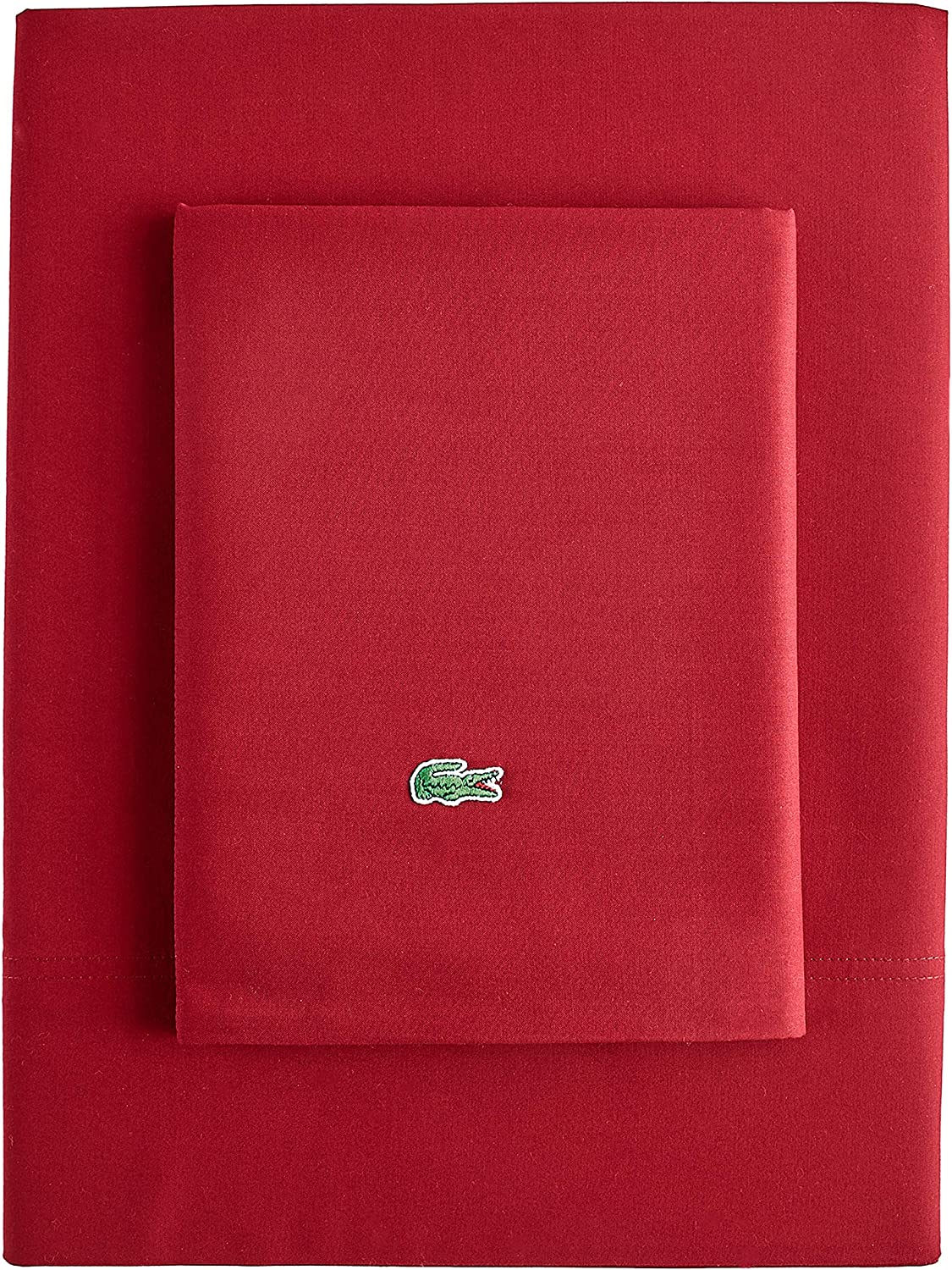 Lacoste Advantage Easy Care 4-Piece Sheet Set, King, Deep Red