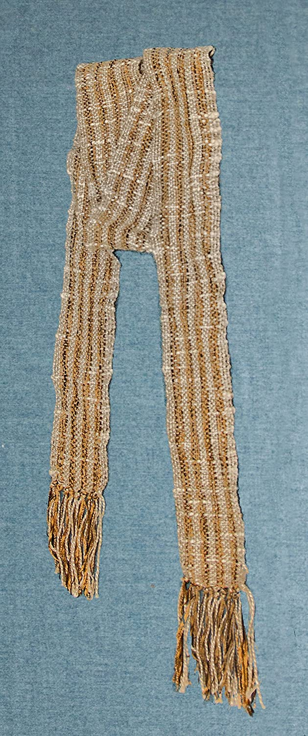 Silk and Chenille Unisex Handwoven Scarf in Tan Linen Cotton