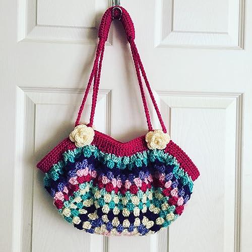Amazon Crocheted Fat Bottom Granny Square Purse Diaper Bag