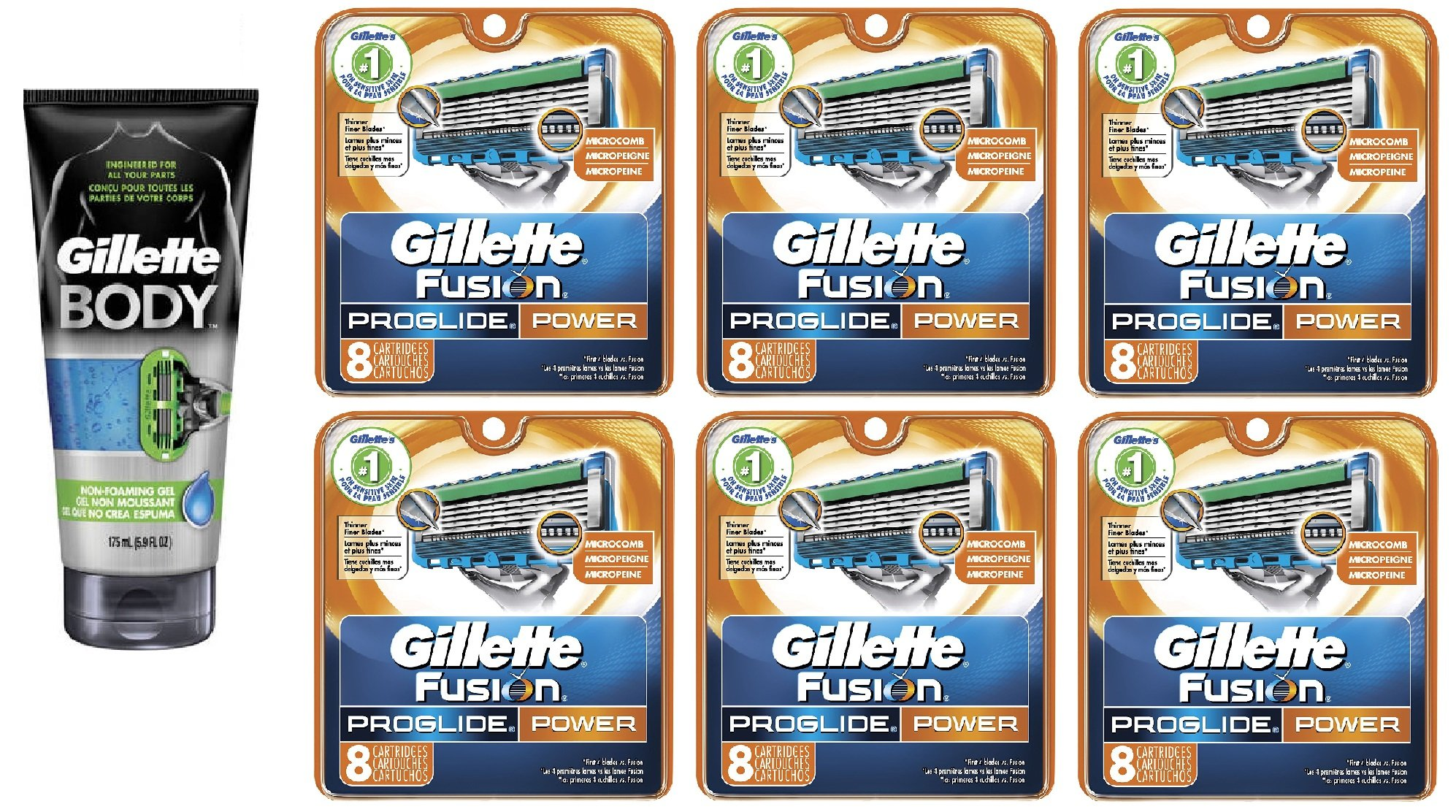 Gillette Body Non Foaming Shave Gel for Men, 5.9 Fl Oz + Fusion Proglide Power Refill Blades 8 Ct (6 Pack) + FREE Luxury Luffa Loofah Bath Sponge On A Rope, Color May Vary