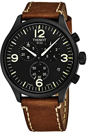 e5d3851a5e3 Tissot Chrono XL Mens Chronograph Watch - 45mm Analog Black Face with Date  and Sapphire Crystal