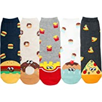YourFeet Womenfs 5 Pack Food Designed Casual Cotton Funny Novelty Socks Burger Doughnut Cupcake Pizza Patterned Best Gift (Foodie - 5 Pairs)