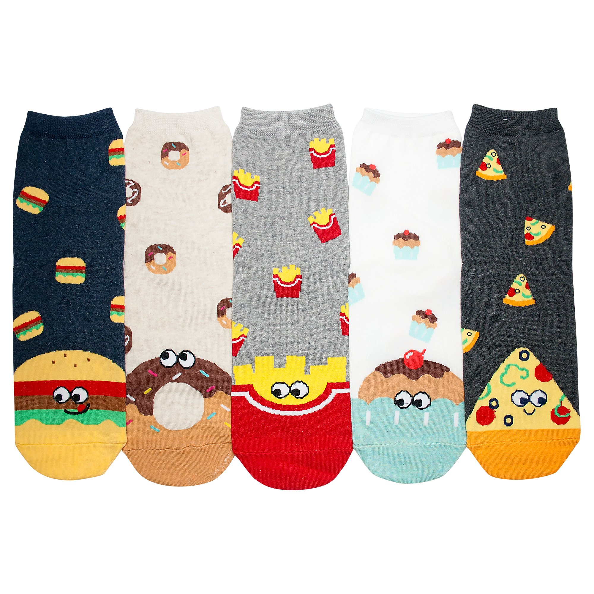 YourFeet Women's 5 Pack Cotton Fun Food Cupcake Designed Novelty Crew Socks Gift Size 6-9 (Foodie - 5 Pairs)