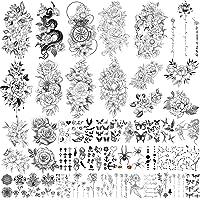 Yazhiji 49 vellen grote sexy bloemencollectie waterdichte tijdelijke tatoeages die nep-tatoeages voor vrouwen en meisjes…