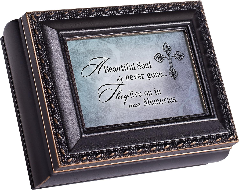 Cottage Garden Beautiful Soul Black Rope Trim 4.5 x 3.5 Tiny Square Jewelry Keepsake Box