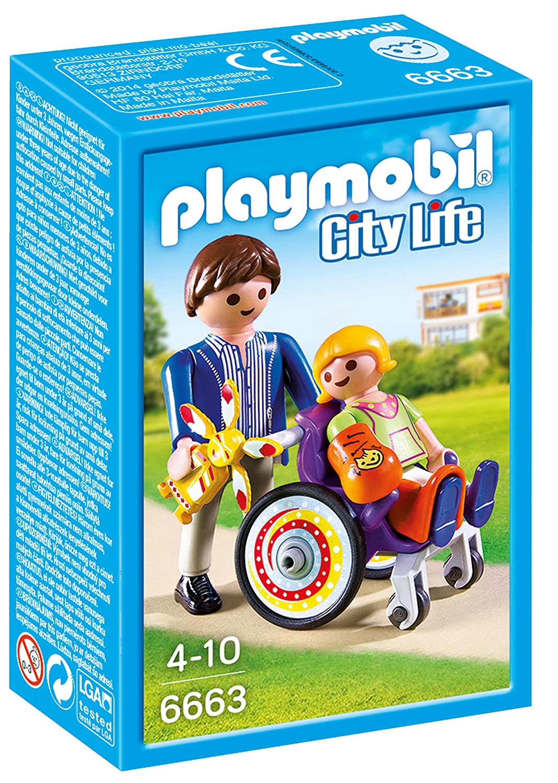 Playmobil - 6663 - Enfant avec fauteuil roulant et papa: Amazon.fr ...