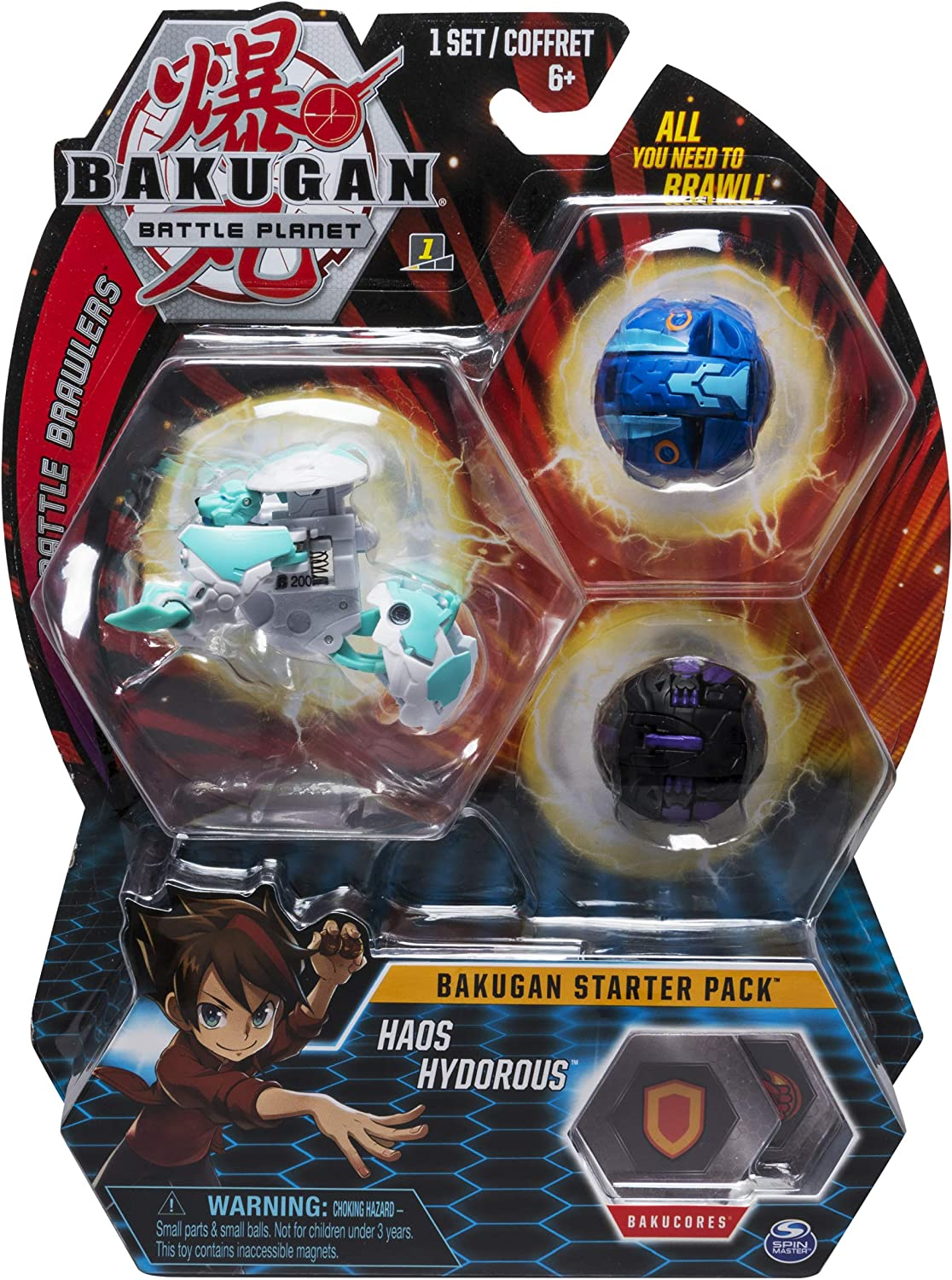 Bakugan Starter Pack 3-Pack, Haos Hydorous, Collectible Action Figures, für Ages 6 und Up