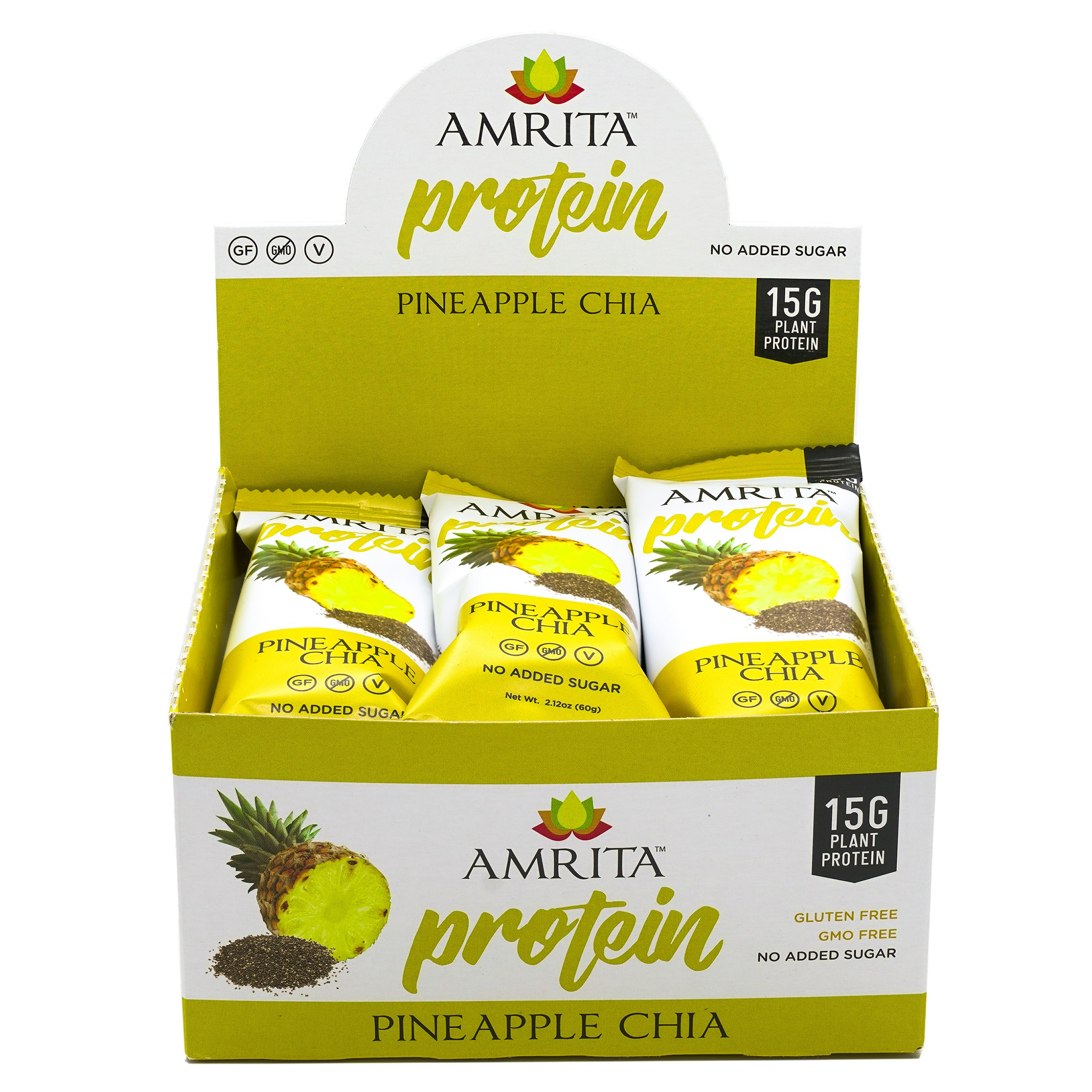 Amrita Plant Protein Gluten Free Bars with 15g Protein per Bar and 240 Kcals per High Protein Bar, Zero Trans or Saturated Fat, Non-GMO Gluten Free (Pineapple Chia)