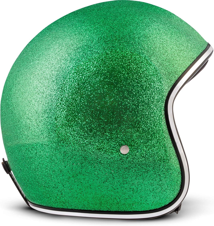 Shiny Negro 53-54cm REBEL R2/Casco Retro de Motocicleta incluye Bolsa de pl/ástico,/Casco de Fibra de Vidrio XS