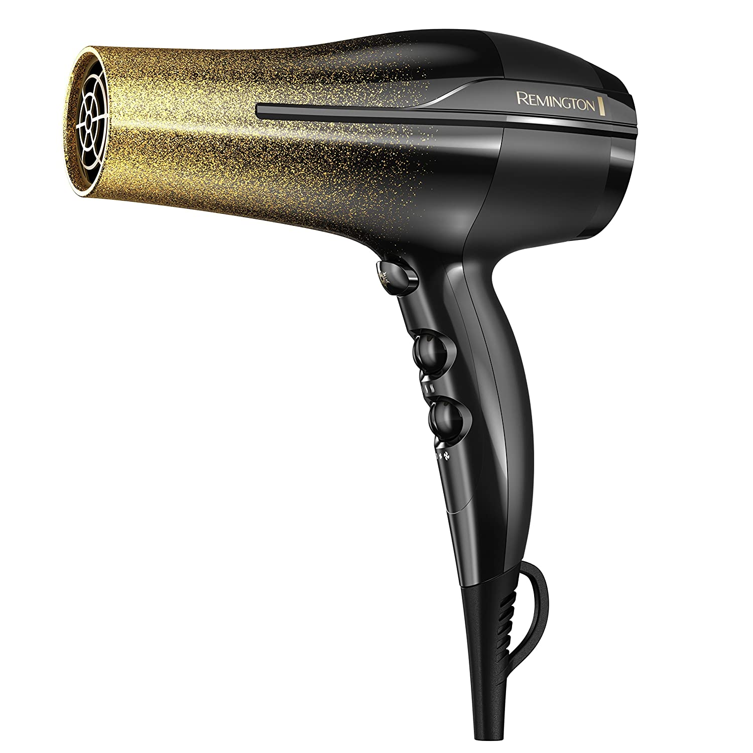 Remington Titanium Fast Dry Hair Dryer with Ionic and Ceramic Technology, Black & Gold Glitter, D5951 Remington Products