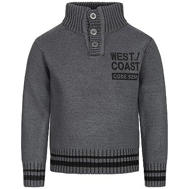 9378a84e1a Top-Kiddy-Fashion Pullover Kinder | Jungen Pullover mit Stehkragen +  Reißverschluss| Strickpullover