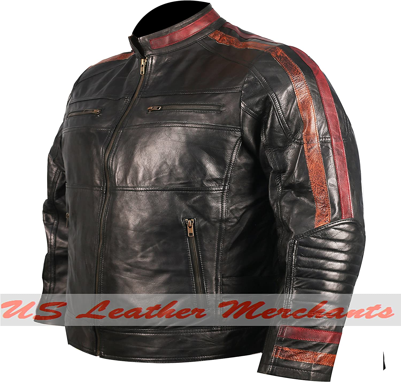 Army Military Motor Biker Vintage Premium Fatal Hour Real Leather Jacket