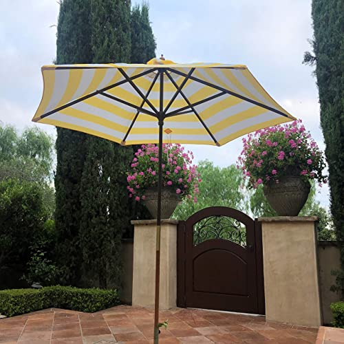Formosa Covers 9ft Market Patio Umbrella 6 Rib Replacement Canopy Yellow Cabana Stripe