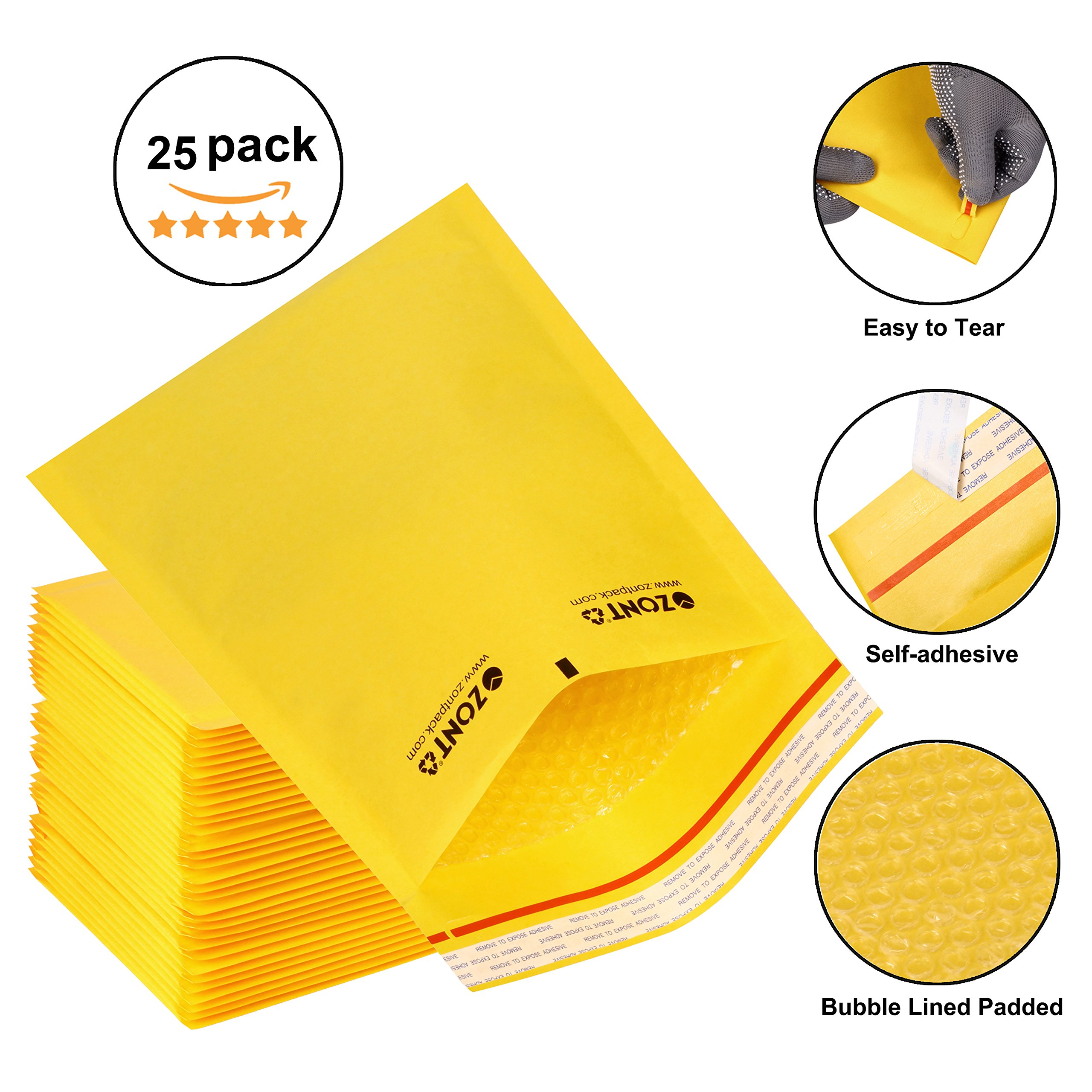 Zont Pack Golden Kraft Bubble Mailers, Self-adhesive Strip Envelope Mailers, Bubble Lined Padded Envelopes With Easy Tear Strip, Lightweight Mailing Envelopes, Box of 25 (10.5 x 15)