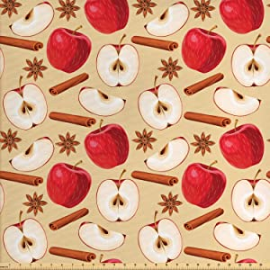 Ambesonne Apple Fabric by The Yard, Quartered and Halved Apples with Cinnamon Sticks and Star Anise Diet Recipe, Decorative Fabric for Upholstery and Home Accents, 1 Yard, Cinnamon Beige