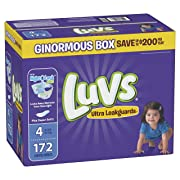 Luvs Ultra Leakguards Disposable Baby Diapers, Size 4, 172 Count, ONE MONTH SUPPLY