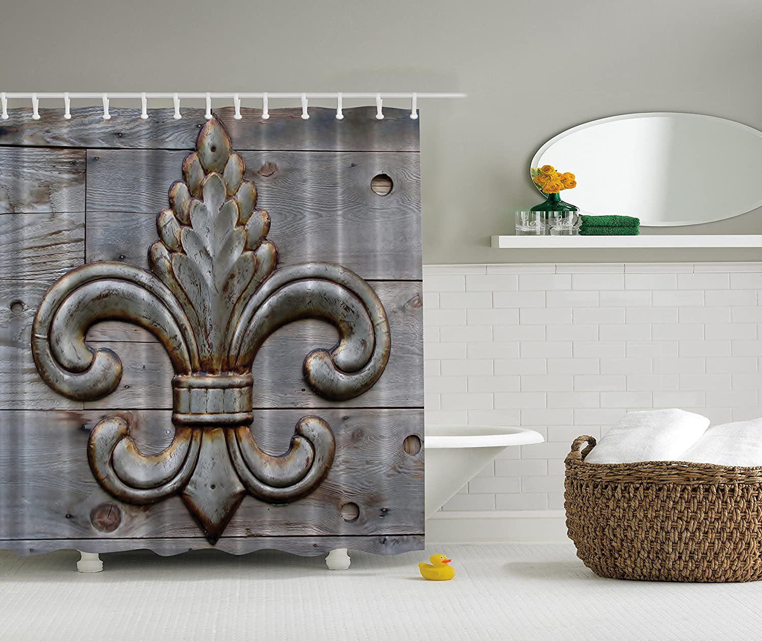 Amazon Fleur De Lis Shower Curtains - Amazon com fleur de lis shower curtain home antiques decor by ambesonne peacock flower lily rusty antiqued wood silver medieval door bell french saints