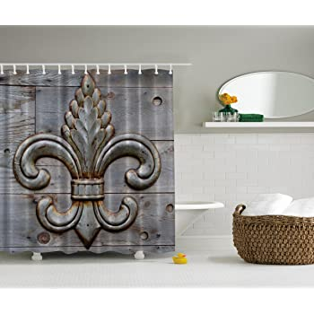 Charmant Fleur De Lis Shower Curtain Home Antiques Decor By Ambesonne, Peacock  Flower Lily Rusty Antiqued Wood Silver Medieval Door Bell French Saints  Symbol Rustic ...