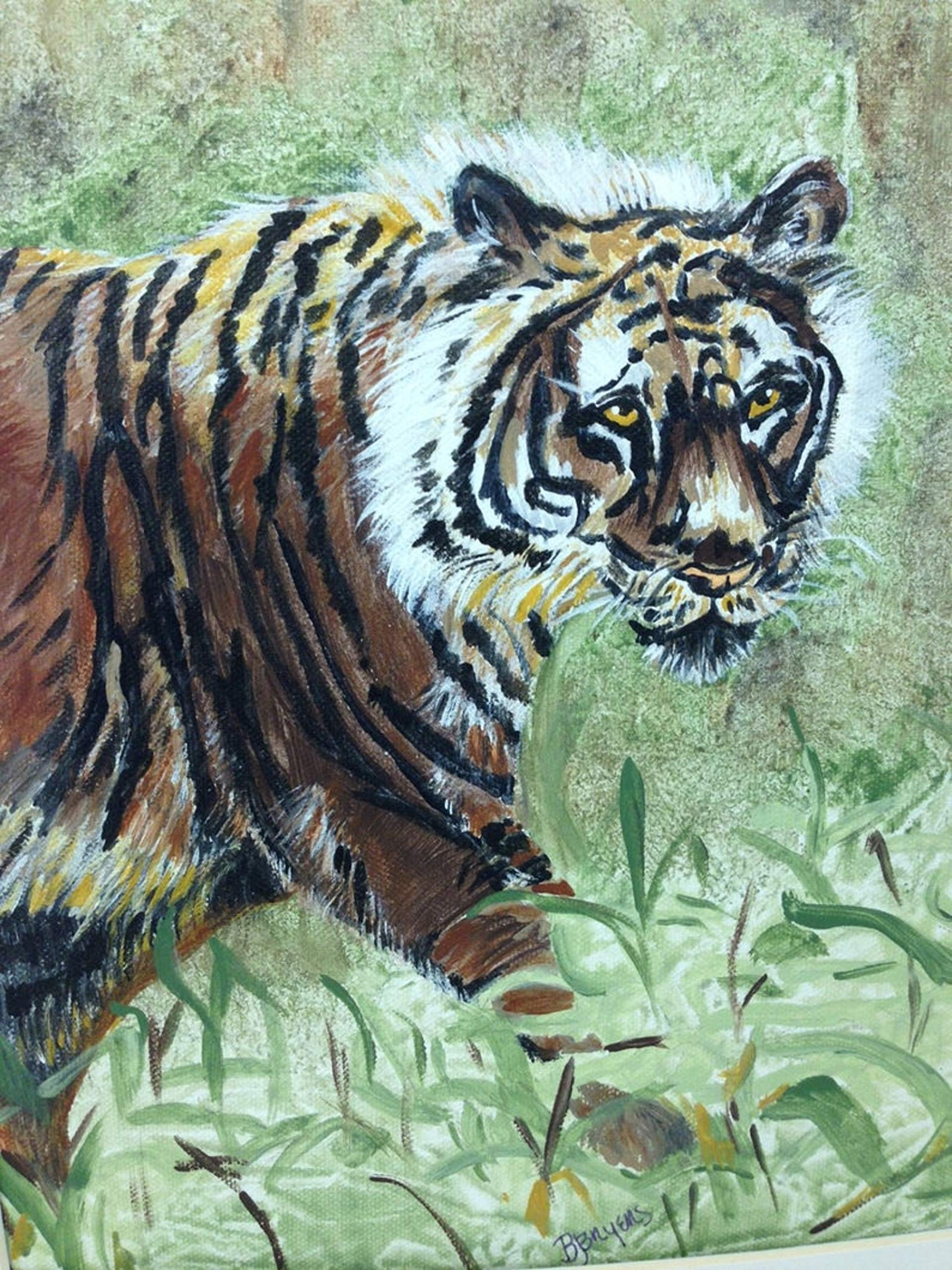 Tiger On The Prowl! Acrylic Painting on Canvas Framed in a Black Wood Frame with Ivory Matte by art picture