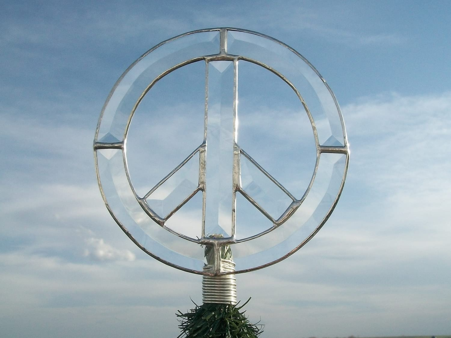 Peace Christmas Tree Topper.Amazon Com Beveled Glass Peace Sign Christmas Tree Topper
