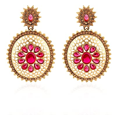 89c11f669 Image Unavailable. Image not available for. Color: Fasherati Golden Jali  Work Earrings In Pink Stone For Women