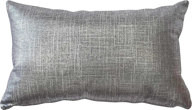 12 x 18 Lumbar Toss Pillow Covers Linen and Metallic Lilac Skinny Horizontal Ovals Within Metallic Diamonds