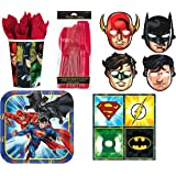 Justice League Dessert Party Set for 8- Plates, Napkins, Cups, Masks, and Cutlery