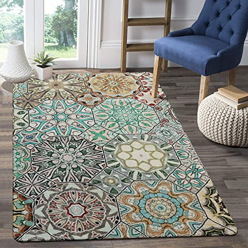 LEEVAN Faux Wool Area Rug 4' x 6' Traditional Rectangle Throw Runner Rug Non-Slip Backing Soft Wool Floor Carpet