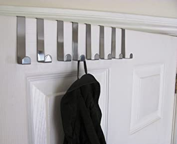 Pk of 8 Brushed Chrome Metal Reversible Over The Door Hooks Storage by JHco - Fit & Pk of 8 Brushed Chrome Metal Reversible Over The Door Hooks ... Pezcame.Com