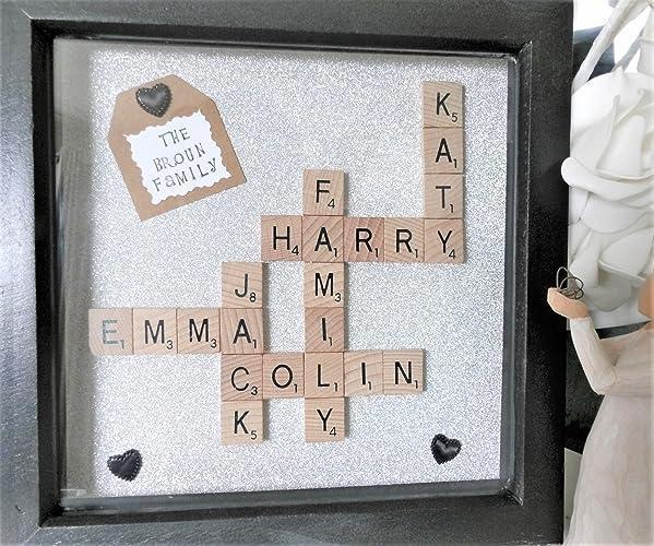 Family Frame, Scrabble Frame, Scrabble Wall Art, Personalised Gift, Scrabble  Tiles,