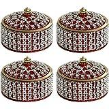 Angelic Brass Jewellery Box (7 cm x 7 cm x 5 cm, Red, Set of 4)