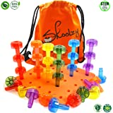 Skoolzy Toddler Toys | Stacking Crystal Peg Board Set Educational Toys for 1, 2, 3 Year Old Boys & Girls | Building Blocks for Toddlers Fine Motor Skills