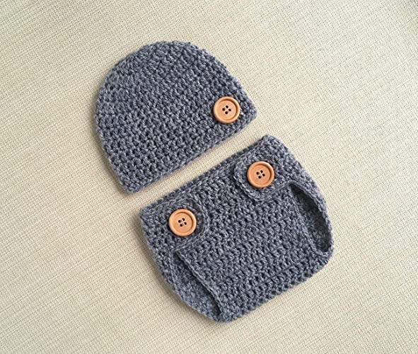ad6643df5b3 Image Unavailable. Image not available for. Color  Grey Newborn Boy Photo  Outfit Crochet Baby Hat and Diaper Cover ...
