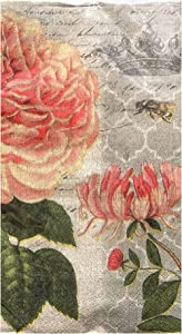 Cypress Home Pink Peony Poney Guest Towels Buffet Paper Napkins, 32 ct