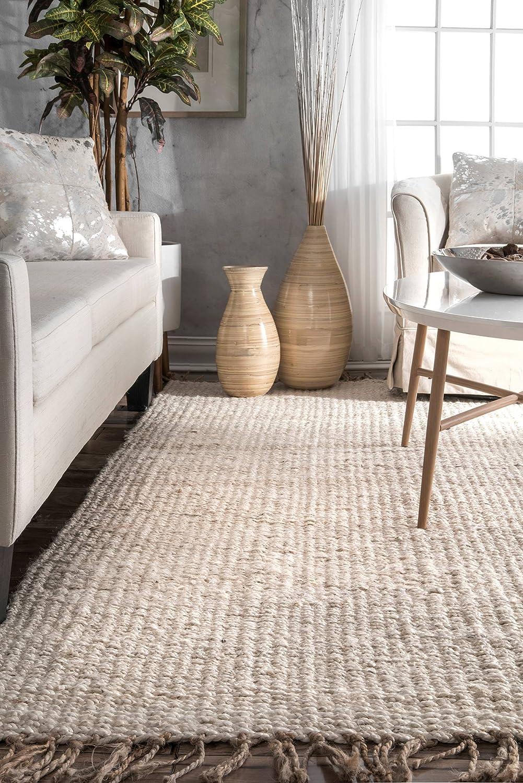 Amazon Com Nuloom Benavides Tassel Jute Area Rug 8 X 10 Off White Furniture Decor
