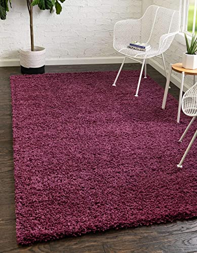 Unique Loom Solo Solid Shag Collection Modern Plush Eggplant Purple Area Rug 3' 3 x 5' 3