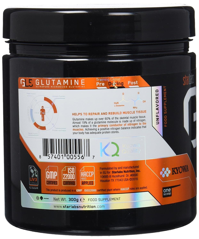 Starlabs Nutrition GL5 Glutamine - 300 gr: Amazon.es: Salud y cuidado personal