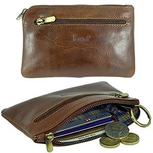 Porte-cartes de crédit et porte-monnaie zippé en cuir de qualité pour femme et homme