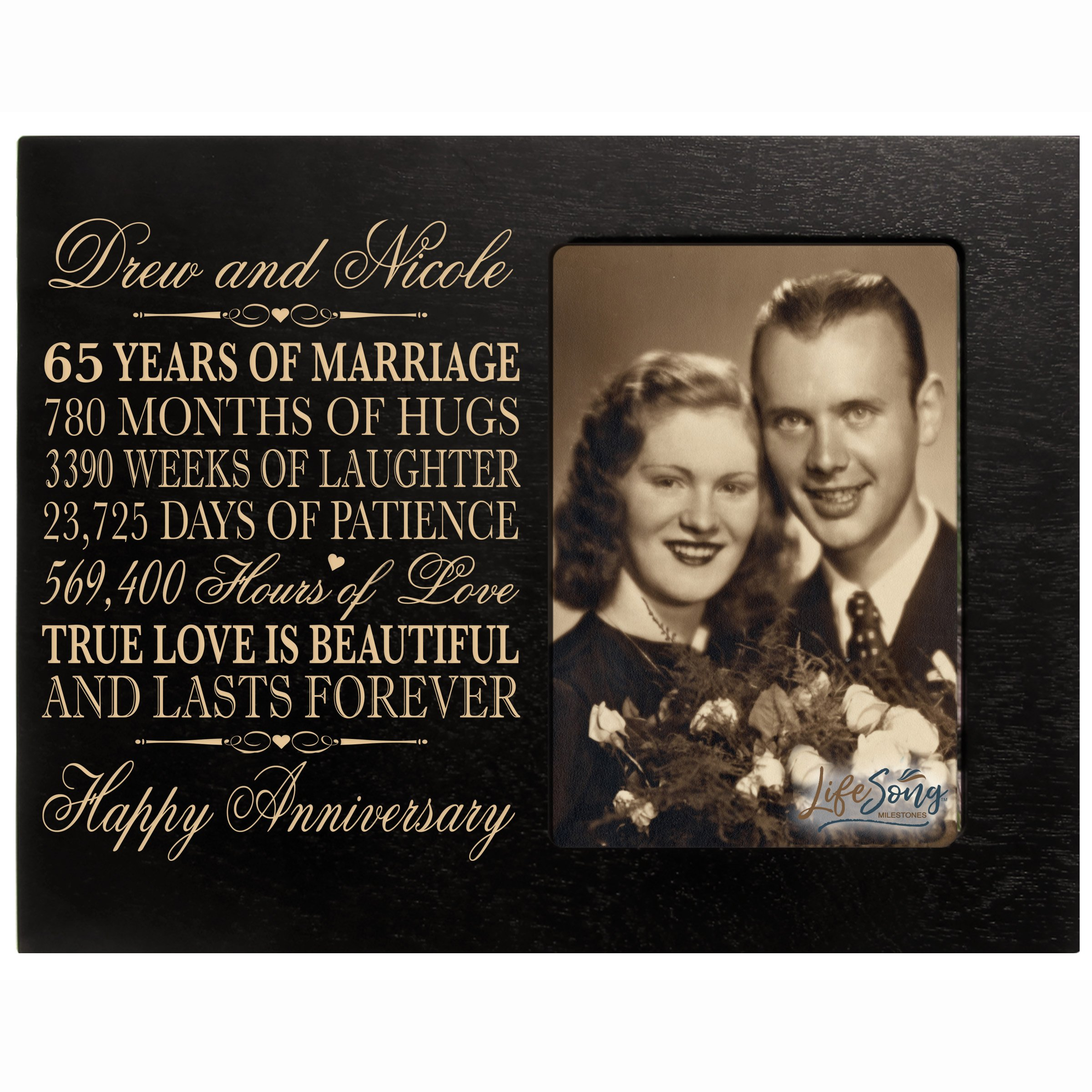 LifeSong Milestones Personalized 65th Year Wedding for Couple Custom Engraved 65th Wedding Frame Holds 1 4x6 Photo 8'' H X 10'' W (Black)