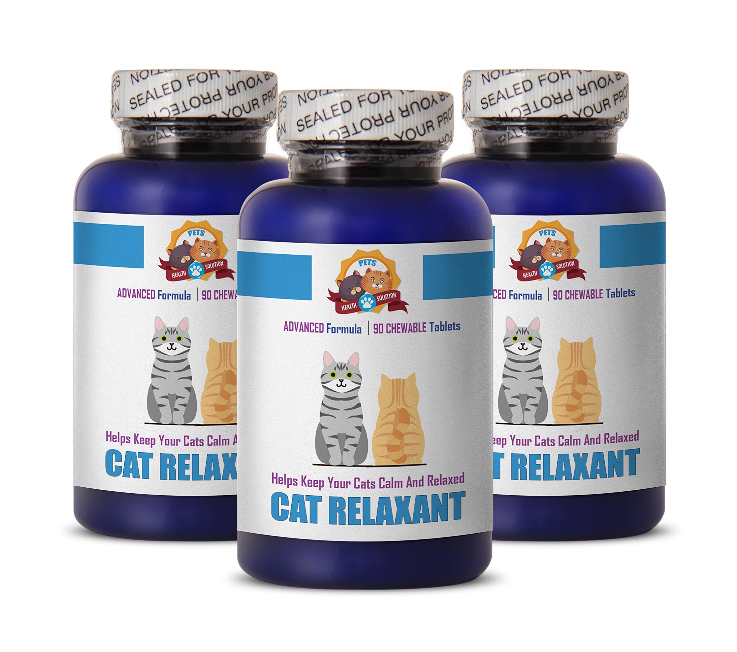 PETS HEALTH SOLUTION cat calming supplement - RELAXANT FOR CATS - HELPS KEEP CALM - ANXIETY RELIEF - TREATS - cat calmer for travel - 270 Treats (3 Bottle) by PETS HEALTH SOLUTION