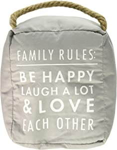 Pavilion Gift Company Family Rules: Be Happy Laugh A Lot Door Stopper