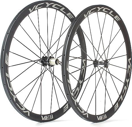 VCYCLE Carbono Ruedas de Bicicleta de Carretera 700C 38mm Tubular 23mm de Ancho 1400g Shimano o Sram 8/9/10/11 Velocidad: Amazon.es: Deportes y aire libre