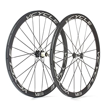 VCYCLE Carbono Ruedas de Bicicleta de Carretera 700C 38mm Tubular 23mm de Ancho 1400g Shimano o