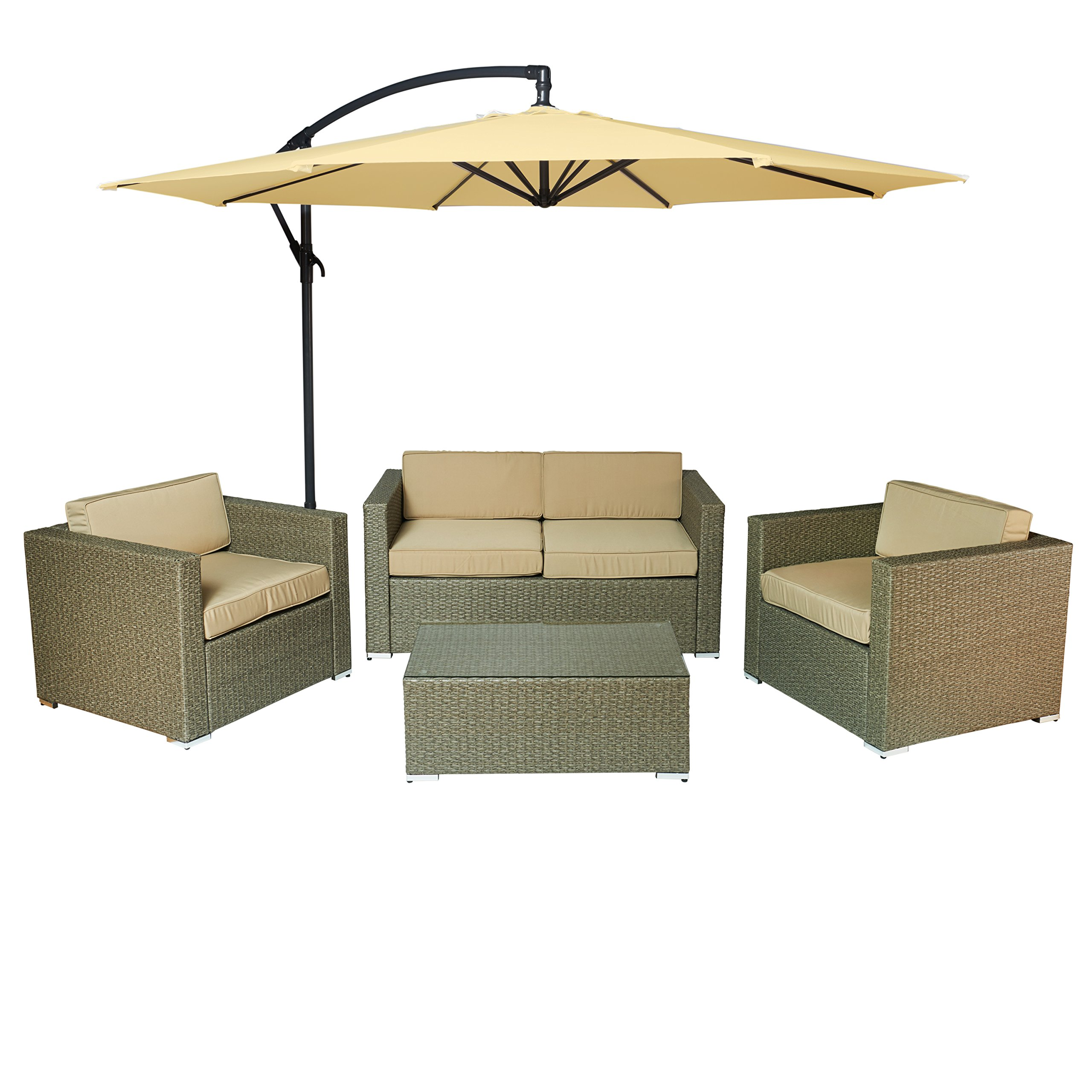 Carabelle Outdoor Wicker Patio 5 Piece Conversation Set with Seat Cushions and Umbrella, Rustic Light Brown and Beige by Carabelle