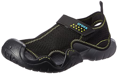 cf20fbe30bc4 crocs Men s Swiftwater Black and Charcoal Sandals and Floaters  Buy ...