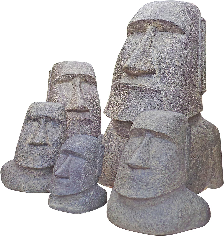 moái de cabeza de piedra fundido | mano pulida y teñido | 54 x 48 x 120 cm: Amazon.es: Jardín