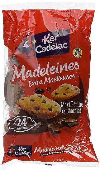 KER CADELAC Madeleines Maxi Pépites de Chocolat Extra Moelleuses - 600 g -  Lot de 4 fbb3eec1552