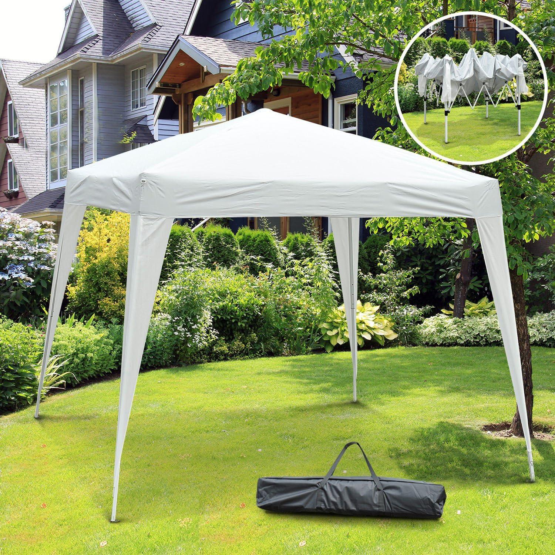 Outsunny Carpa Cenador Plegable para Exterior para Jardín Camping Fiesta Tienda Eventos - Blanco - Acero y Oxford - 3 x 3m: Amazon.es: Jardín